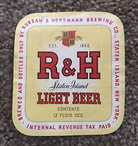 IRTP R&H Light Beer Label. Rubsam And Horrmann BC,Staten Island , NY.
