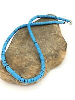 "Navajo Native Blue Turquoise 20"" 6mm Heishi Sterling Silver Bead Necklace 1341"