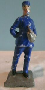 Old VINTAGE Composite BLUE CONDUCTOR Toy Figurinet/ Hat  Made in Japan TRAIN