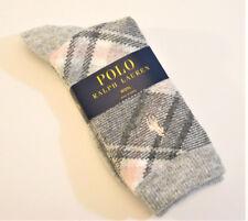 Ralph Lauren Ladies Socks Wool Blend Bias Plaid Light Grey / Pink - NEW
