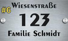Hausnummer Schild Alu-Dibond 20x20 cm, schwarzer Schriftzug schneller Versand
