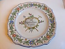 ASSIETTE FAIENCE DECOR REVOLUTIONNAIRE VV L'AGRICULTURE 1792 SAINT CLEMENT K&G