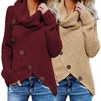 New Women Knitwear Cowl Neck Asymmetric Hem Knitted Sweater Jumper Pullover