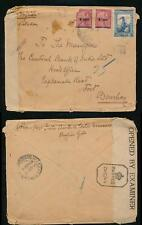 PORTUGUESE INDIA GOA 1945 CENSORED REGISTERED ENVELOPE to BOMBAY...FAULTS