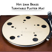 HiFi Pure Brass Turntable Platter Mat for Vinyl LP Record Player 2mm Pad Slipmat