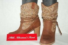 Ankle Boots NOT RATED Brown Suede Look Western Knitted & Studded Sz 8.5 * XLNT