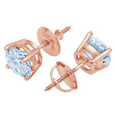 1.0 ct Round Brilliant Cut Solitaire Blue CZ Stud Earrings Real 14k Rose Gold