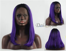 Ombre 1B / Purple hair Bob Straight wig New Lace front Heat resistant Synthetic