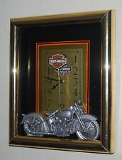 "Estate Find 12"" x 14""  Harley Davidson Motorcycle Wall Clock Unusual"