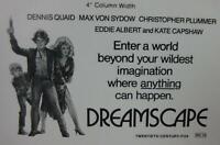 DREAMSCAPE Movie Mini Ad Sheet Vintage Advertising Poster  Film Dennis Quaid