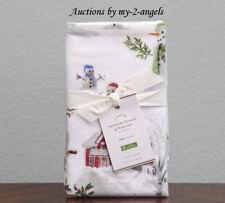 S2 Pottery Barn Snowman Cotton Flannel King Pillowcases Christmas Winter Organic