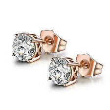 HUCHE Retro Vintage Style Rose Gold Filled Diamond Clear Topaz Lady Stud Earring