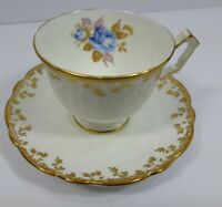 Aynsley White Cup & Saucer with Blue Flower and Gold Trim Bone China England