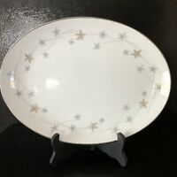 "MCM Kimberly Fine China Japan Star Dust 12"" Oval Serving Platter Gold Blue Stars"