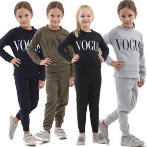 Kids Childrens Vogue Print Top Bottoms Tracksuit Lounge Wear 2 Pcs Co-Ord Set