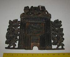 Antique 1900 Toy Doll Cast Iron Stove Fireplace Lion/Unicorn Crest