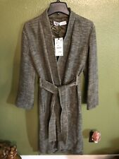 100% Authentic ZARA Olive Green Tweed Trench Coat With Tie Waist $169+Tax