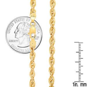 "10K Yellow Gold Light 2mm-4mm Diamond Cut Rope Chain Pendant Necklace 16""- 30"""