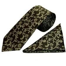 Black with Sage Green Floral Classic Men's Tie and Handkerchief Set Regular Tie