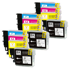 12 PK Ink Cartridge Set use for Brother LC61 Fax MFC 5490CN 5890CN 6490CW J265W