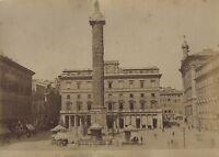 Italia Roma Piazza Colonna Da Marc Aurèle Foto Vintage Albuline Ca 1880