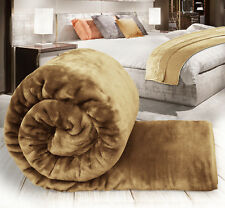 Warm Luxury Super Soft Faux Fur Fleece Mink Sofa Bed Blankets Throw Camel - King