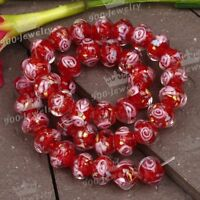 1 Strand Red Flower Lampwork Glass Loose Beads Womens Jewelry Finding Making DIY