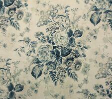 """COVINGTON LAUREL PORCELAIN BLUE D4173 FLORAL MULTIUSE LINEN FABRIC BY YARD 54""""W"""