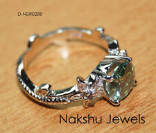 Engagement Ring 925 Starling Silver 2Ct Blues Green Round Moissanite Wedding