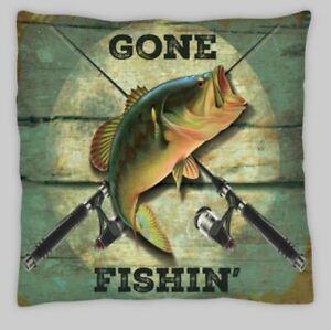 Gone  fish fishing  Linen  Cushion Cover 18 inch bass linen