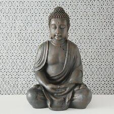 Edler XL Buddha 70cm in Grau Magnesia Figur Braun Modell Mönch Statue Neu