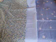 coupons tissu  fleurs  + vichy + pois  bleu