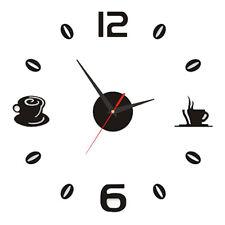3D DIY Large Roman Numerals Coffee Luxury Mirror Wall Sticker Clock Home Decor