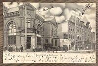 BRIDGETON NEW JERSEY LAUREL STREET VIEW OF BANK AND POST OFFICE POSTCARD M10