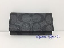 New Coach Signature 4 Ring Key Case Holder F64005, Charcoal/Black