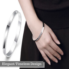 Unisex 925 Sterling Silver Plated Smooth Round Close Circle Cuff Bangle Bracelet