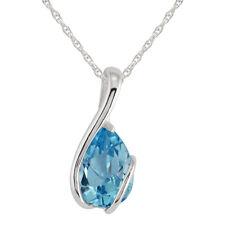 9 ct Oro Blanco 2,15 ct Topacio Azul Una Piedra Envolvente colgante con cadena