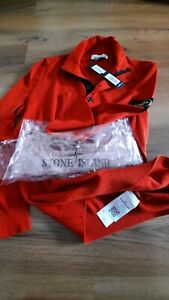 Stone island size l sweater knit jumper  details on the nek buttons red top