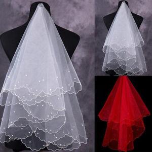 Elegant White Pearl Veil Bridal Elbow Short Satin One-Layer Veil Wedding Decor H
