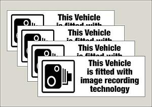 4 x Vehicle CCTV Image recording fitted stickers 210 x 80mm Free 1st class P&P
