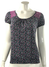 Weavers Knit Top Size Small Purple Blue Floral Short Sleeve Lace Back Womens