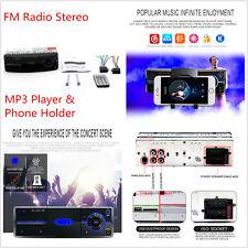 Single DIN coche Radio FM Reproductor MP3 Estéreo Bluetooth manos libres con soporte para teléfono