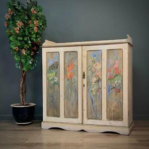 Attractive Large Antique Victorian Hand Painted Dresser Sideboard Cabinet