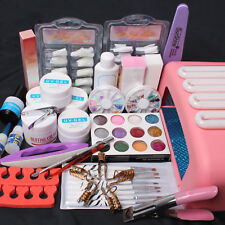 Nail Art Kit UV Gel 36W Timer Dryer Lamp False Tips Glue Glitter Tools Full Set