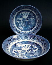 """TWO Churchill Blue Willow Pattern 6"""" Soup Cereal or Dessert Bowls 15.5cm UNUSED"""