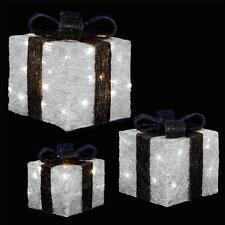 Premier Set Di 3 LED accendere le particelle di Natale/Regali-Argento & Nero