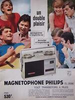 PUBLICITÉ DE PRESSE 1964 MAGNETOPHONE PHILIPS EL 3586 TOUT TRANSISTORS A PILES