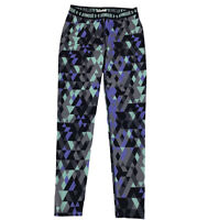 Under Armour Girls Youth Large Heat Gear Leggings Purple Green Black Stretch