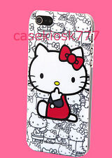 for iphone 5 5s cute hello kitty white hot pink back case w/ bow protector film