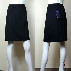 """M&S A-Line MINI SKIRT with WOOL ~ Size 10  / 21"""" Length ~ BLACK"""